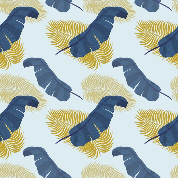 Tropical seamless pattern with exotic palm leaves. Premium Vector