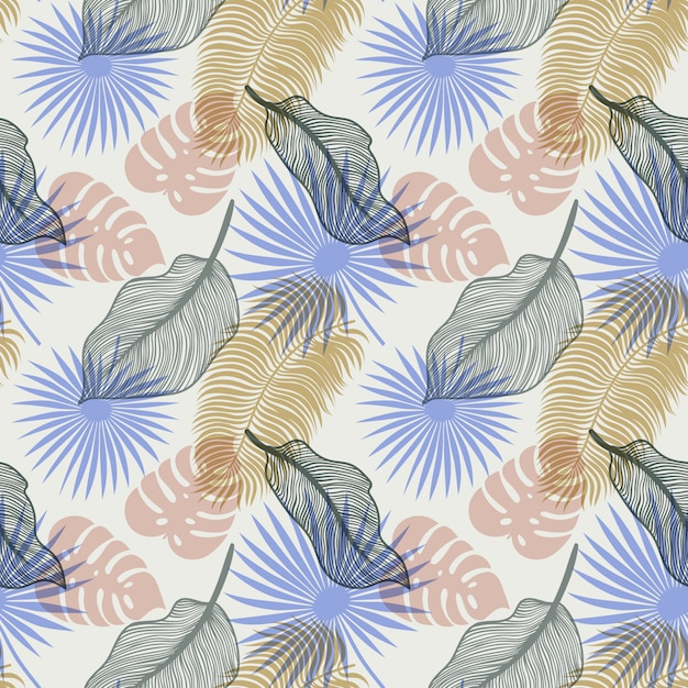 Tropical seamless pattern with exotic palm leaves Premium Vector