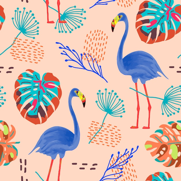 Tropical seamless pattern with flamingos and exotic leaves. Premium Vector