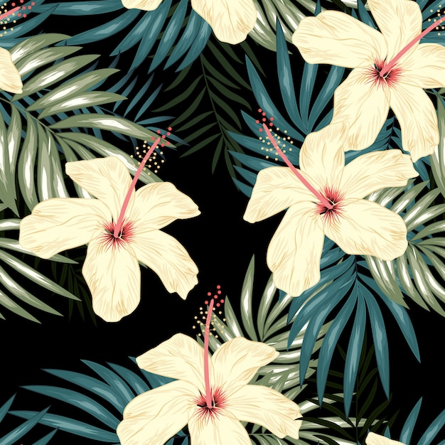 Tropical seamless pattern with palm leaf and hibiscus flower Premium Vector