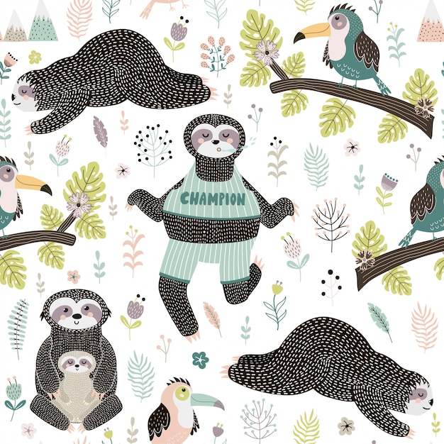 Tropical seamless pattern with sloths and bird sitting on the branch Premium Vector