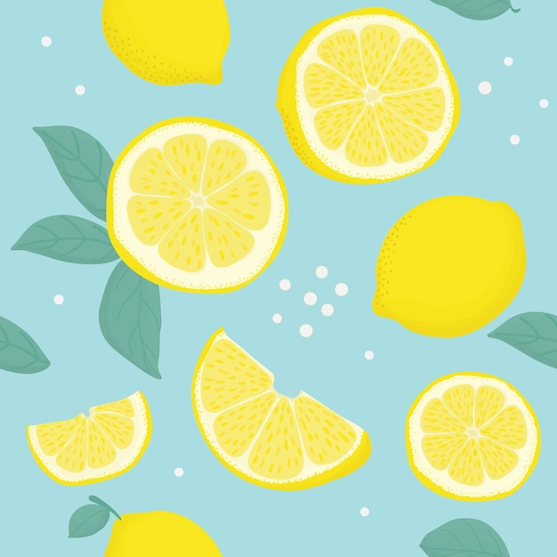 Tropical seamless pattern with yellow lemons. Premium Vector