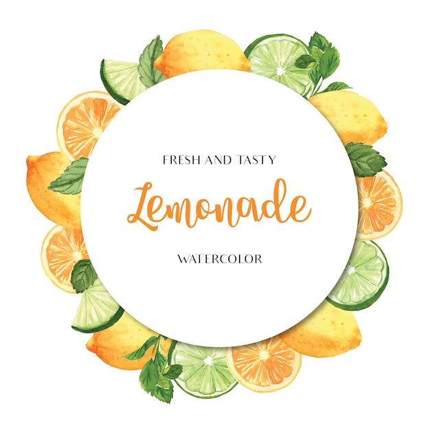 Tropical season fruits wreaths banner design, passion fruit orange fresh and tasty frame Free Vector