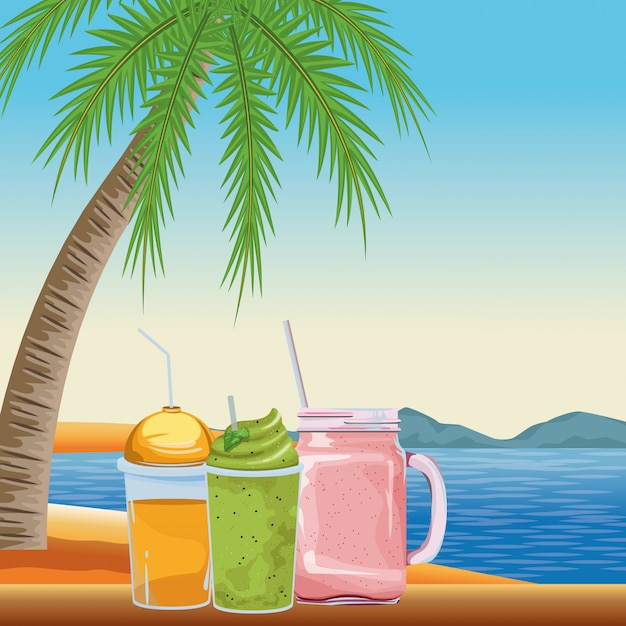 Tropical smoothie drink icon cartoon Free Vector
