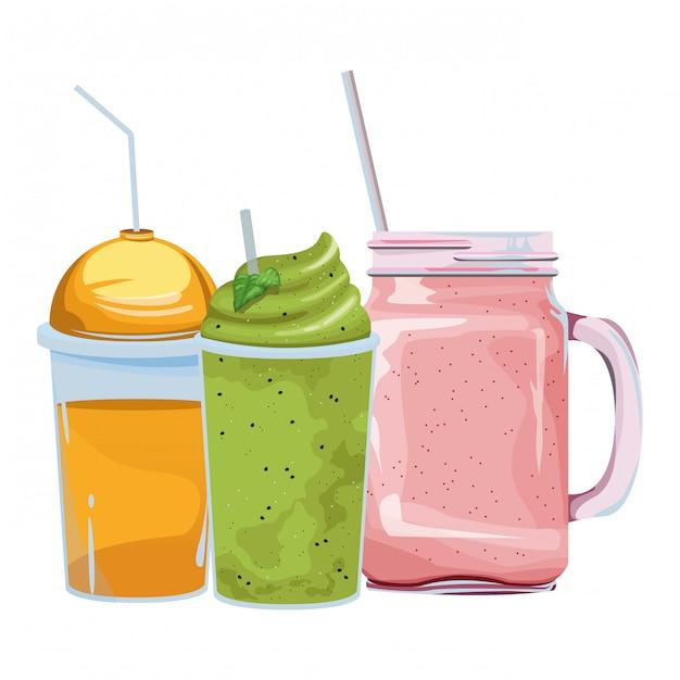 Tropical smoothie drink icon cartoon Premium Vector