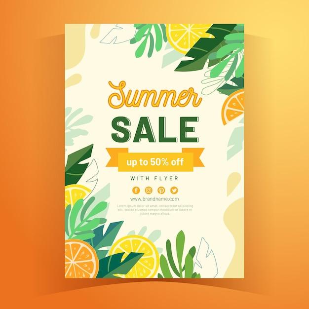 Шаблон флаера a5 тропическое лето Бесплатные векторы