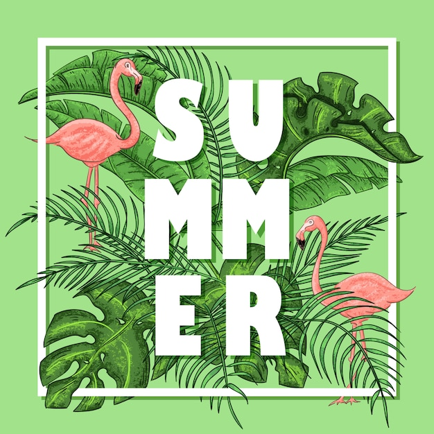 Tropical summer arrangement with flamingos, palm leaves and exotic flowers. Premium Vector