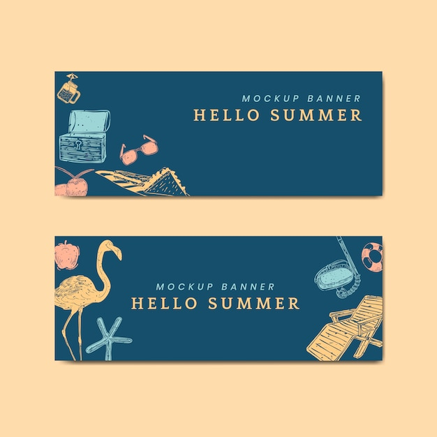 Tropical summer banners Free Vector