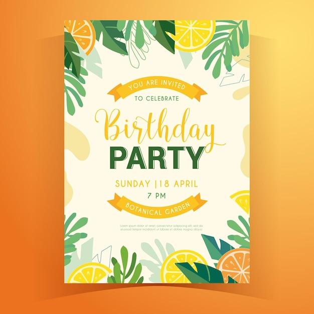 熱帯の夏の誕生日の招待状 Premiumベクター