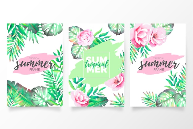 Tropical summer brochure collection Free Vector