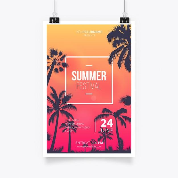 Tropical summer fest poster Vettore gratuito