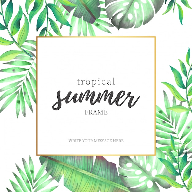 Tropical Summer Frame with Watercolor Leaves Vector | Free Download