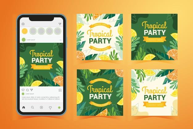Post di instagram estivi tropicali Vettore gratuito