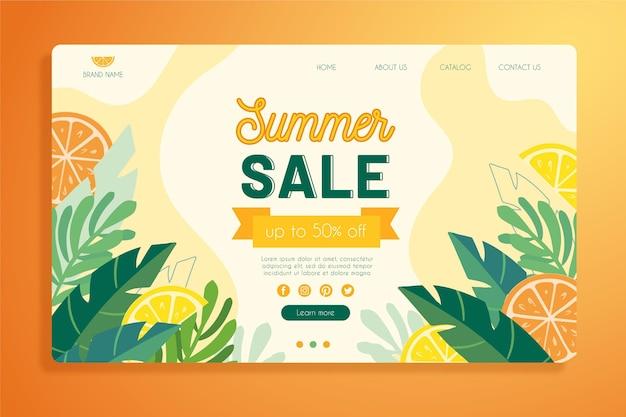 熱帯の夏のランディングページテンプレート 無料ベクター