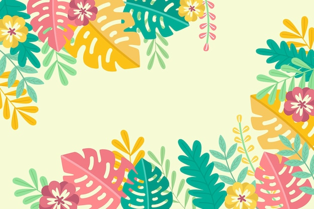 Tropical summer leaves copy space background Free Vector