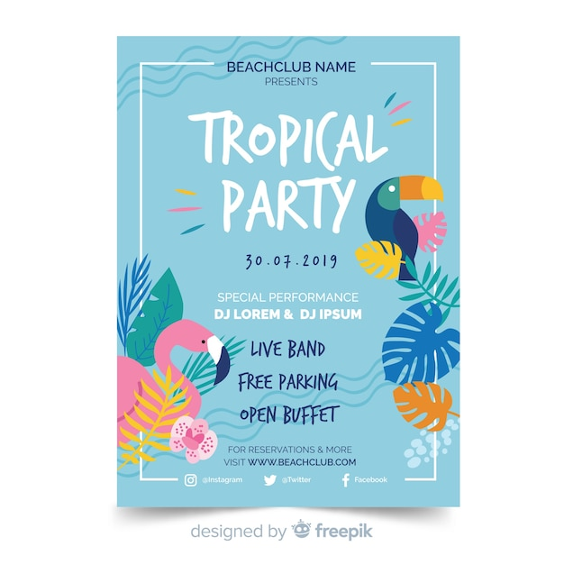 Tropical summer party flyer template Free Vector