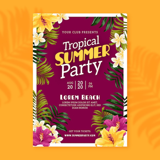 Tropical summer party poster Free Vector