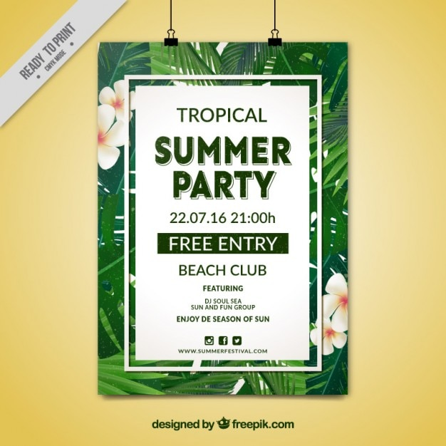 tropical summer party poster vector free download