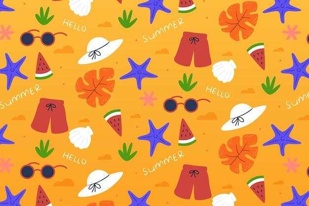 Тропический летний узор фона с фруктами и сладостями Бесплатные векторы
