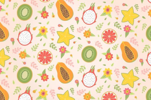 Обои с тропическим летним рисунком с фруктами и сладостями Premium векторы