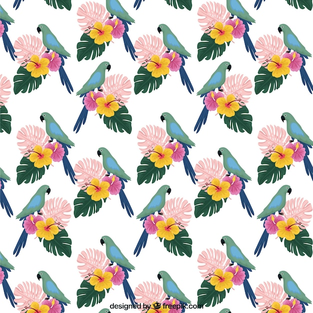 Tropical summer pattern with birds and\ flowers