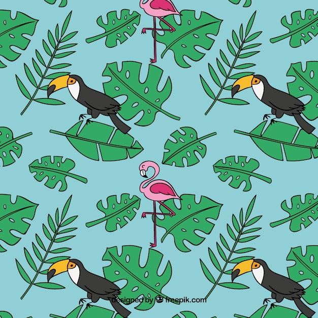 Tropical summer pattern with birds and\ plants