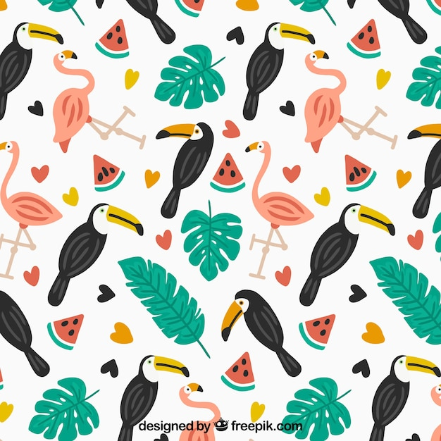 Tropical summer pattern with birds and\ watermelons
