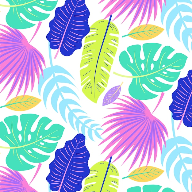Tropical summer pattern with colorful leaves Free Vector