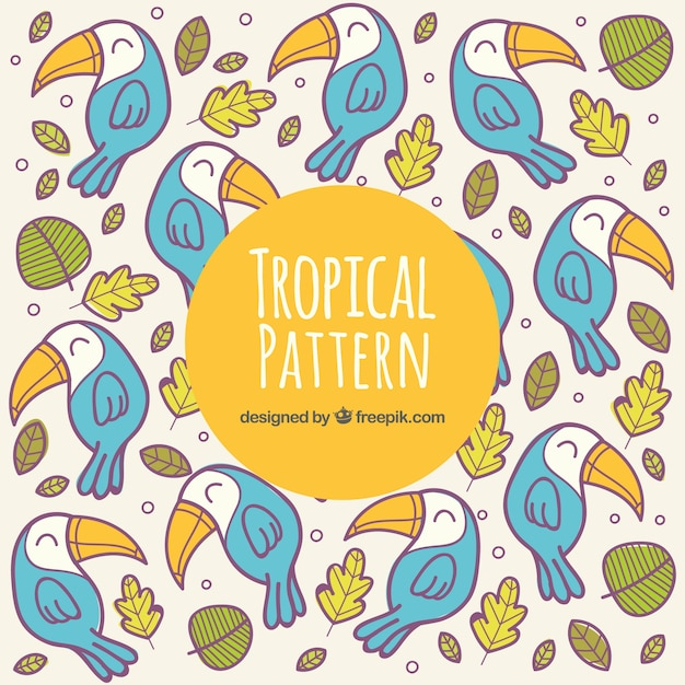 Tropical summer pattern with happy birds