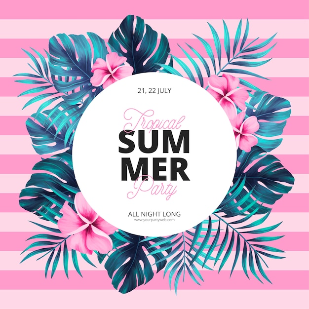 Tropical summer poster template Free Vector