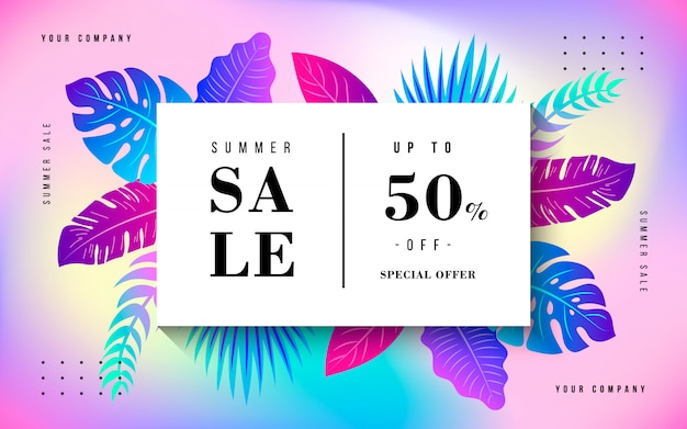 Tropical summer sale banner Free Vector