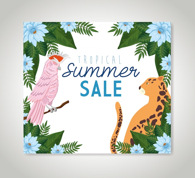 Tropical summer sale with frame of flowers with animals exotics Free Vector