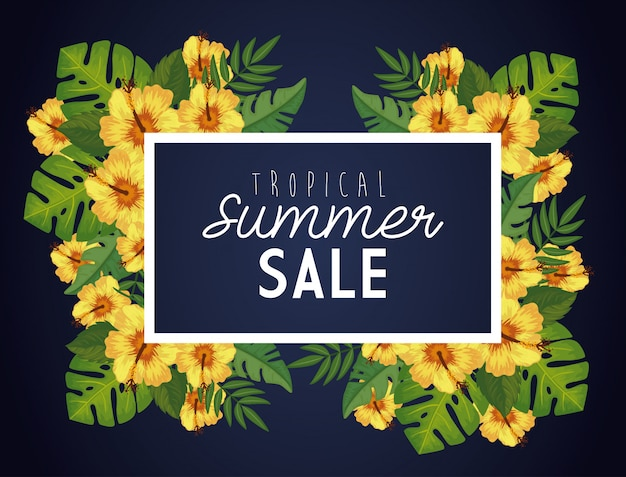 Tropical summer sale with frame and flowers Free Vector