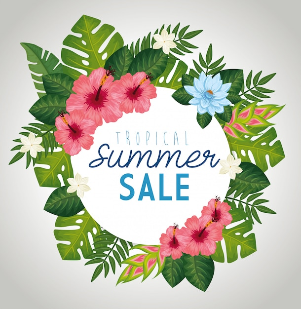 Tropical summer sale with frame of leafs and flowers Free Vector