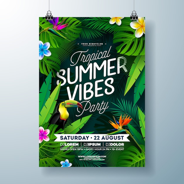 Tropical summer vibes party flyer design with flower, tropical palm leaves and toucan bird on dark background. summer beach celebration template Free Vector