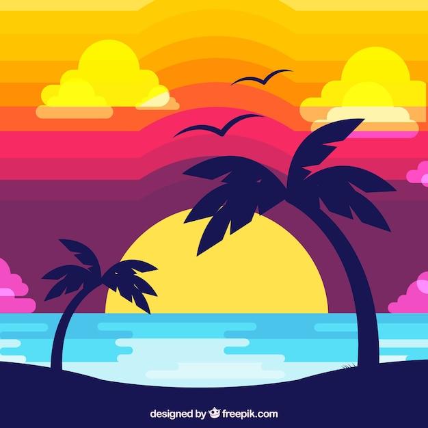 Tropical sunset flat design