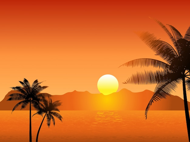 Tropical Sunset Scene With Palm Trees Vector