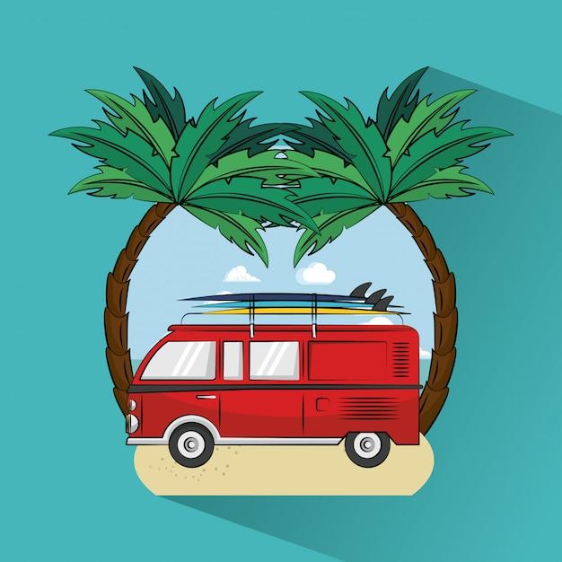 Tropical surfing lifestyle theme Premium Vector