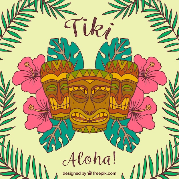Tropical tiki background Vector | Free Download