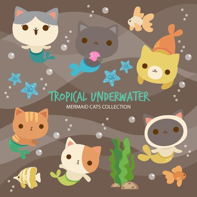 Tropical underwater mermaid cats Premium Vector