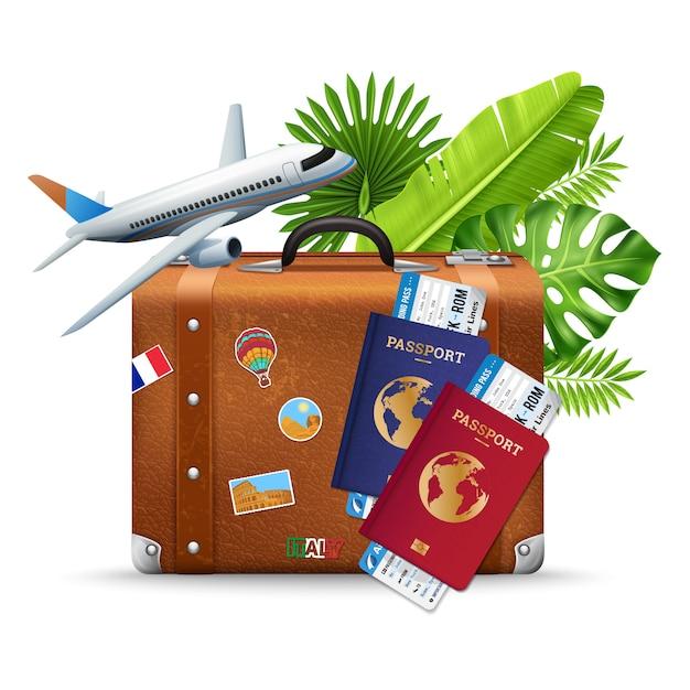 Composizione tropicale in servizio di viaggio aereo di vacanza Vettore gratuito