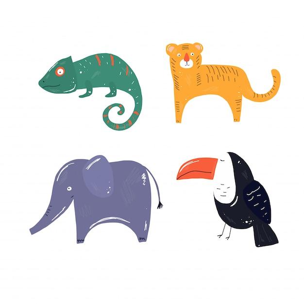 Tropical vector animals, tiger, toucan, elephant, hameleons Premium Vector