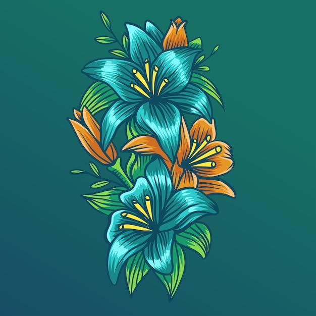 Tropical vector flower 1 Premium Vector