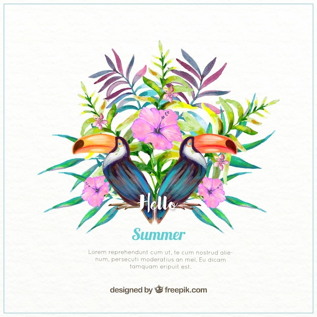 Tropical vegetation with toucans watercolor\ background