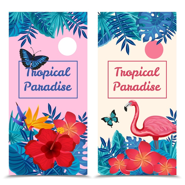 Tropical vertical banners Free Vector