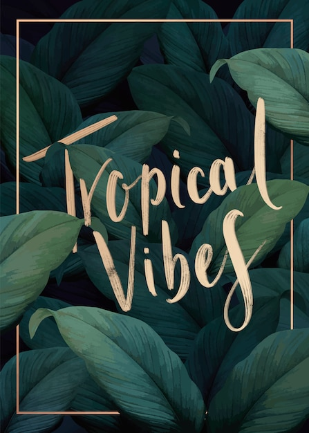 Tropical vibes poster Free Vector
