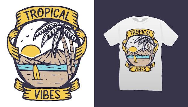 Дизайн футболки tropical vibes Premium векторы