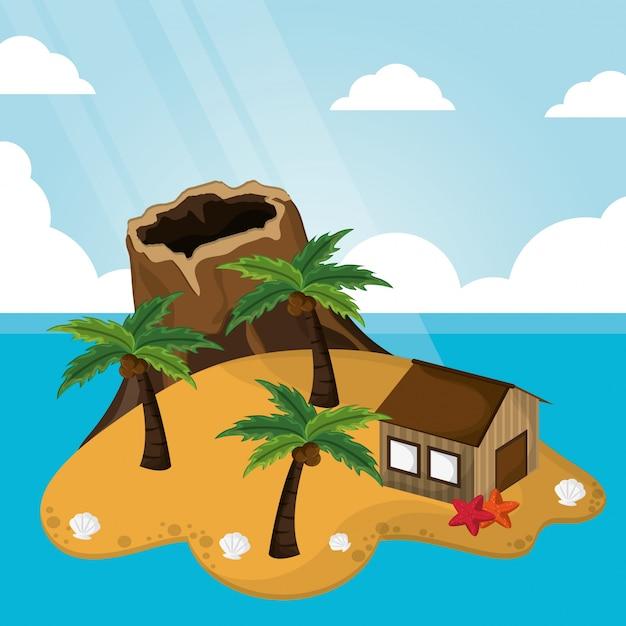 Tropical volcano hut palm tree sunlight starfish sand Premium Vector