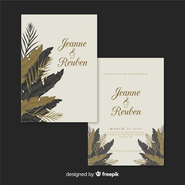 Tropical wedding invitation template Free Vector