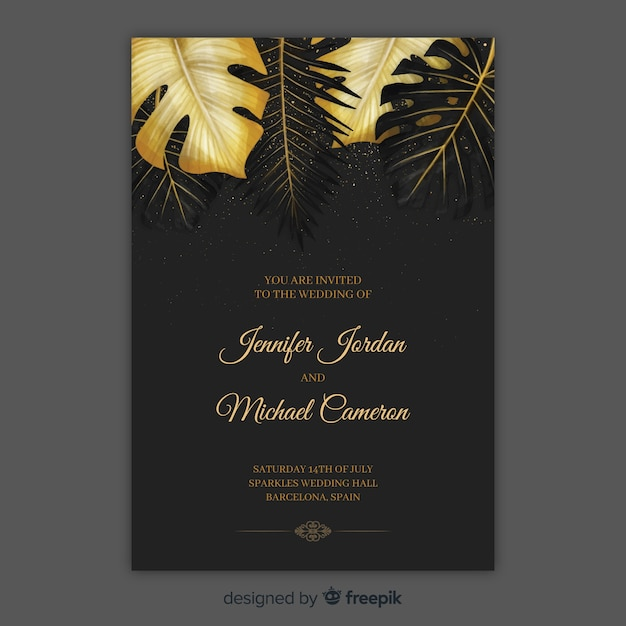 Tropical wedding invitation Free Vector